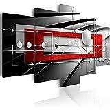murando - Bilder Abstrakt 200x100 cm Vlies Leinwandbild 5 TLG Kunstdruck modern Wandbilder XXL Wanddekoration Design Wand Bild - geometrische Formen Kugel grau schwarz rot Silber a-A-0209-b-n