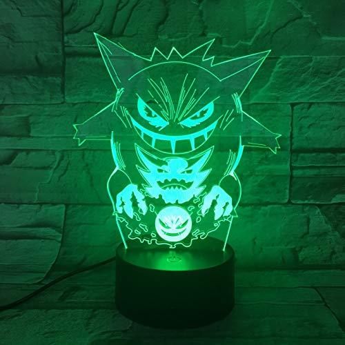 TYWFIOAV Dibujos Animados 3D luz Nocturna 7 Luces cambiantes de Color Colorido acrílico ilusión Visual USBAA batería LED Luces de decoración niños