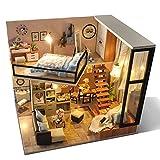 JUZIHOUSE Handgefertigtes Holz-Puppenhaus zur Selbstmontage,mit LED-Beleuchtung und Möbel/Spieluhr...