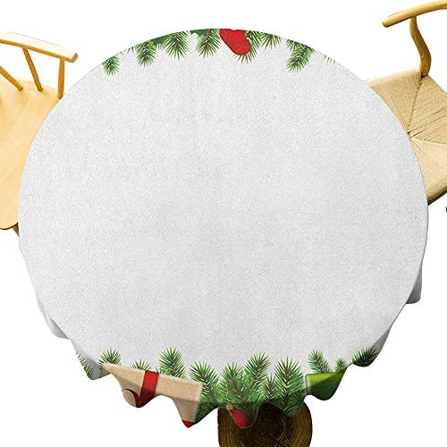 Christmas Tablecloth - 55 Inch Waterproof Round Tablecloth Christmas Protection Table Celebration Borders Fir Tree Classic Garland Gingerbread Man Lollipops Presents Multicolor