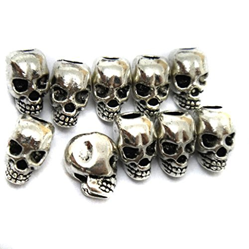 pomcat 30pcs Tibet plata calavera Spacer Beads para collar, pulseras y pendientes DIY Making