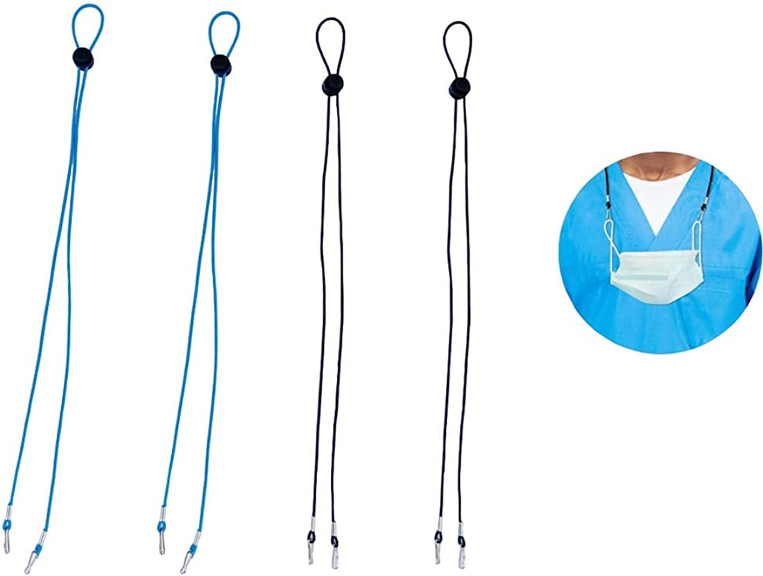 4Pcs Face Coverings Lanyard Convenient Face Shield Bandanas Eyeglass Strap Holder Hanger Comfortable Adjustable Length for Women Men Kids(Black,Blue)