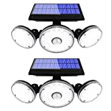 Yomisga 2 Pack Solar Lights Outdoor Wireless Motion Sensor Powered Security Light with 70LED 3 Rotatably Adjustable Heads IP65 Waterproof Flood lamp for Your Porch,Yard, Garden