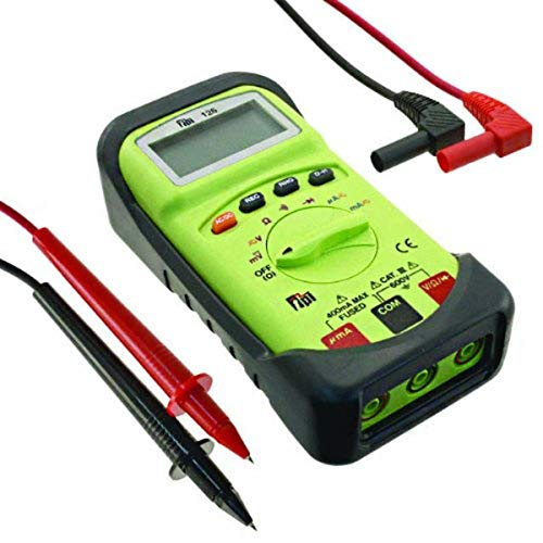 TPI 126 Compact Autoranging Digital Multimeter with Protective Boot, 40 Megaohms Resistance, 750V AC, 1000V DC Voltage, 400mA AC/DC Current