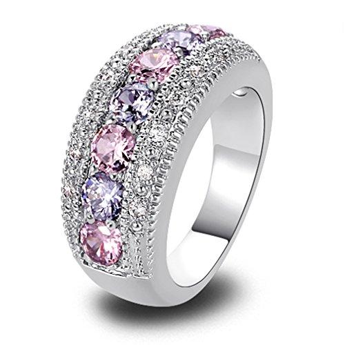 YAZILIND Pink Weiss Diamant Kristall weißes Gold Ring für Frauen Geschenk Size 8
