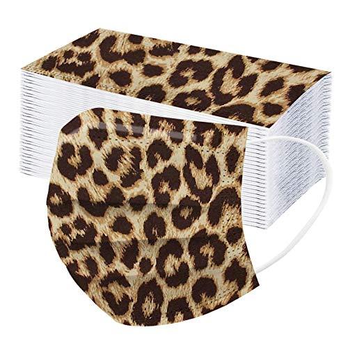 Rabbiter 10-100 Stück Leoparden Mundschutz Erwachsene Einweg 3-lagig Mund Nasenschutz Multifunktionstuch Staubdicht Atmungsaktiv Mund-Nasen Maske Bandana Halstuch Schals