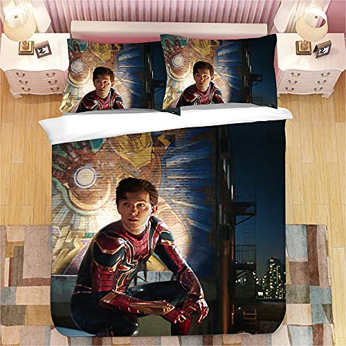 Aatensou - Ropa de cama infantil de Spiderman Parallelwelt, ropa de cama para niños · 3 piezas · 2 fundas de almohada 80 x 80 + 1 funda nórdica 135 x 200 cm (ZH 1,230 x 260 cm + 80 x 80 cm * 2)