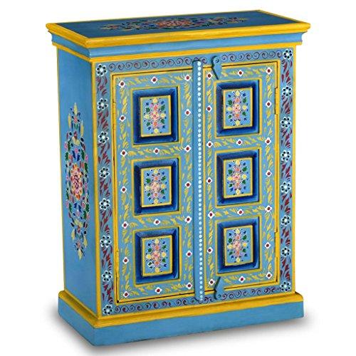 xinglieu aparador en madera maciza de mango pintura manual turquesa 60x 30x 78cm (L x P x H) con un Riche détail decorativo pintado a mano