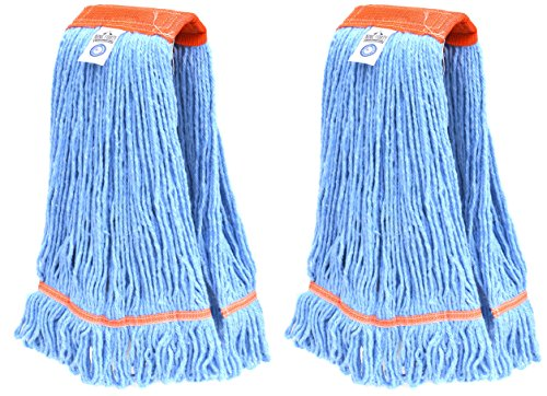 Nine Forty Industrial | Commercial USA Looped End Wet Mop Head Refill | Replacement – Heavy Duty 4 Ply Premium Synthetic Yarn (2 Pack, Large)