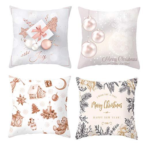 Shorecofei - Funda de almohada de terciopelo para Navidad, color rosa dorado, Multicolor, 45 x 45 cm