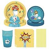 Noe Juego de vajilla de fiesta de 113 piezas, diseño de experimento científico, Happy Birthday Party Set con globos, platos, vasos y servilletas para 8 cumpleaños infantiles