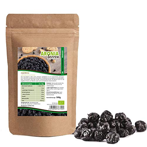 Mynatura BIO Aroniabeeren getrocknet Aronia-Beeren Vitamine Mineralien Veganer Rohköstler (1000g)