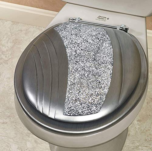 Touch of Class Brilliance Standard Toilet Seat Silver Glitter Mosaic Gray