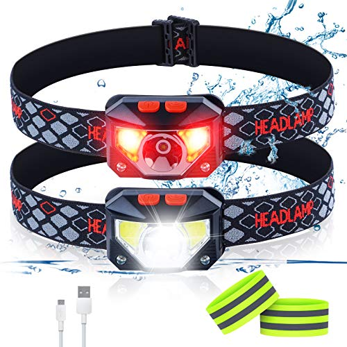 LED Headlamp Flashlight, USB Rechargeable Headlamps for Adults,8 Modes, 1100 Lumens Ultra-Light Bright Motion Sensor Waterproof Outdoor Head Light Used for Camping Cycling Running 2 Packs