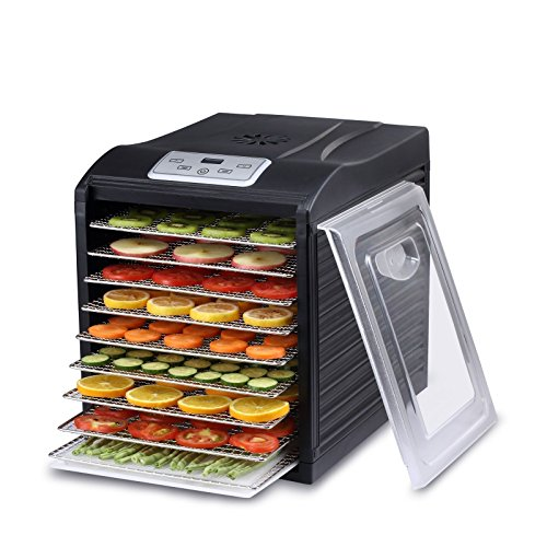 BioChef Arizona Sol Food Dehydrator 9 x BPA Free Stainless Steel Trays & Digital Timer - Includes: 3 x Non Stick & 3 x Fine Mesh Sheet & Drip Tray. Best Beef Jerky Maker