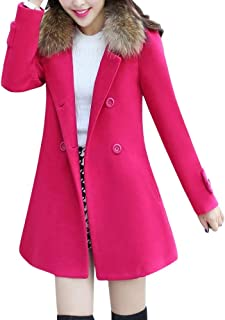 Amiley Parkas Women Winter,Womens Faxu Fur Lapel Collar Coat Winter Long Warm Jacket Parkas Outerwear