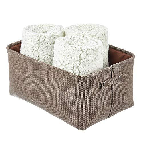 mDesign Cesta de tela con forro y diseño estructurado – Ideal como cesto para baño o como organizador de cosméticos –...