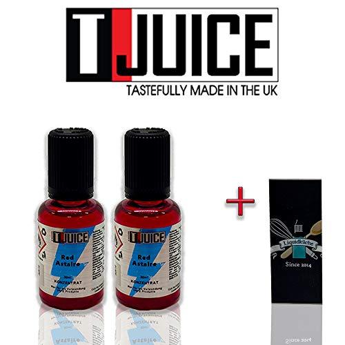 T-Juice - Red Astaire 30ml 2er pack Doppelpack Sparpaket Bundle + 1x Liquidküche Akku Sleeve | zum Mischen von Liquid für EZigaretten | Akkuschlauch Schutzhülle für deine Akkus | Nikotinfrei