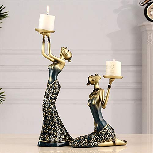 Hmvlw Decoraciones de esculturas para el hogar Candelabro decoración Escultura Europea Retro Decoración American Beauty Inicio Creative gabinete del vino Artesanía Decoración de boda de disparo vela P