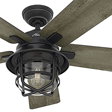 Hunter Fan 54  Weathered Zinc Outdoor Ceiling Fan with a Clear Glass LED Light Kit and Remote Control, 5 Blade (Certified Refurbished)