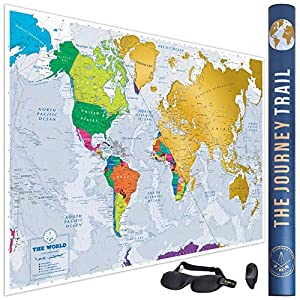 Mapa Mundi Rascar, Más Grande Y Con Más Destinos - Póster De Papel De Gran Calidad, Más Grueso Y Capa De Protección - Incluye Antifaz Para Dormir