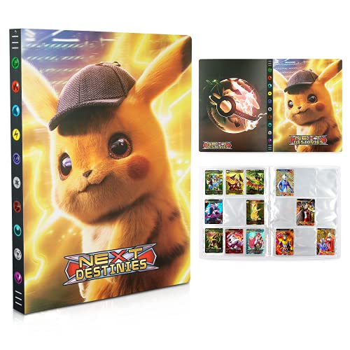 Tarjetero Pokémon, Álbum de Pokemon, Album de Cartas Coleccionables, Álbum de Entrenador de Cartas Pokémon GX EX. El álbum Tiene 24 páginas y Puede Contener 432 Tarjetas (Detective Pikachu)