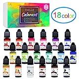Colorante Resina Epoxi UV 18 Colores - Pigmento Líquido de Resina Epoxi Transparente para Resina UV, Fabricación de Joyas - Tinte Concentrado de Resina UV para Pintura, Manualidades - 10 ml Cada Uno