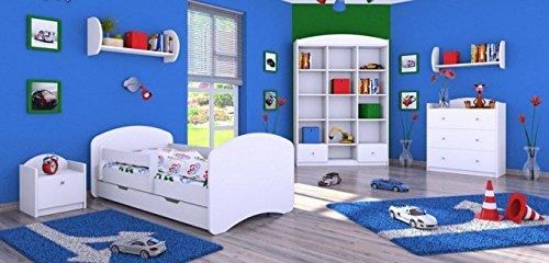 naka24 6 - teiliges Set Jugendzimmer Kindermöbel Zimmermöbel Weiss mit Kinderbett (140x70cm, Weiss)