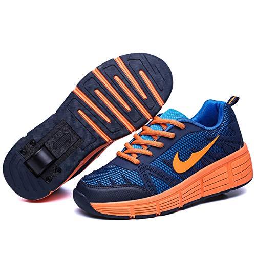 Zapatillas con Ajustable Rueda para niños niña Zapatos con Dos Ruedas Automática Calzado de Skateboarding Deportes de Exterior Patines en Línea Aire Libre (Azul Oscuro, Numeric_40)