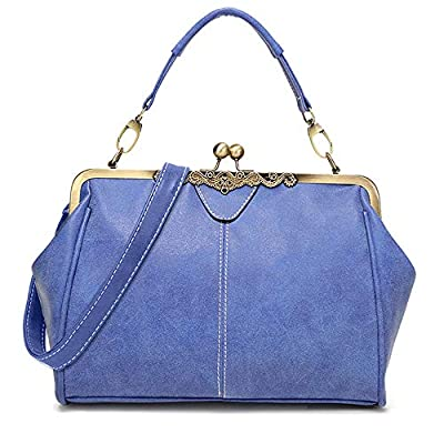 Women Vintage Small Retro Handbags Kiss Lock Crossbody Purse Frosted Leather Messenger Bag Tote