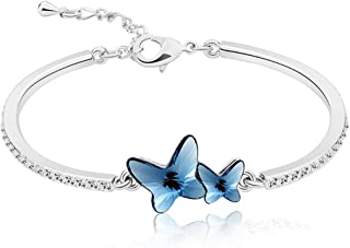 Yellow Chimes Crystals from Swarovski Butterfly Designer Bracelet for Women and Girls