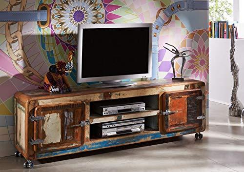 Meuble TV avec roulettes - Bois massif recyclé laqué (Multicolore) - Inspiration Ethnique - FREEZY #32