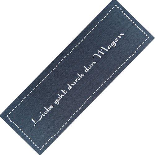 Teppich-Läufer Waschbar rutschfest | Liebe geht. Modern Grau 50x150 | Sauberlaufzone für Küche Flur | Schmutzfangmatte als Dekoartikel Küchendeko Küchenteppich Geschenk für Hobbykoch