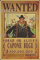 海賊アニメCAPONE BEGE さびた錫のサインヴィンテージアルミニウムプラークアートポスター装飾面白い鉄の絵の個性安全標識警告バースクールカフェガレージの寝室に適しています