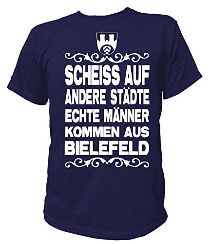Artdiktat Herren T-Shirt Scheiß auf andere Städte - Echte Männer kommen aus Bielefeld Größe L, Navy
