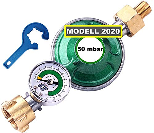 CAGO Gasregler 50 mbar mit Manometer Gas Füllstandsanzeige Schlauchbruchsicherung Propangas Druckminderer Druckregler Camping Propan Butan Gasflasche Gasregler-Schlüssel
