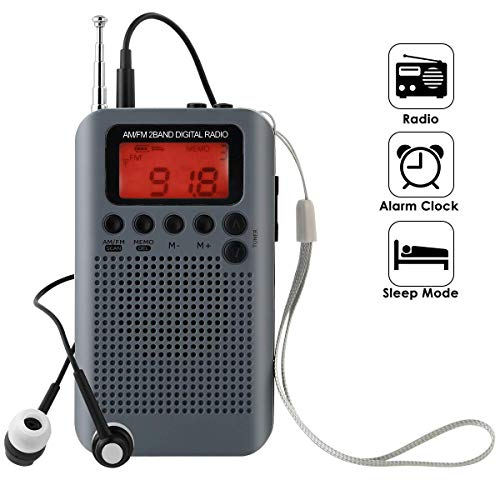 LFJNET Best Choice Portable AM FM Two Band Radio with Alarm Clock & Sleep Timer Digital Tuning Stereo Radio with 3.5mm Headphone Jack for Walking Jogging Camping Gray