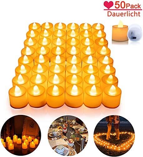 Yansh LED Kerzen, 50 Stück Flammenlose LED Candles flammenlos hell blinkend elektrische Gefälschte Kerze nach für Halloween Weihnachten Party Bar Hochzeit Valentinstag(Warmweiß)