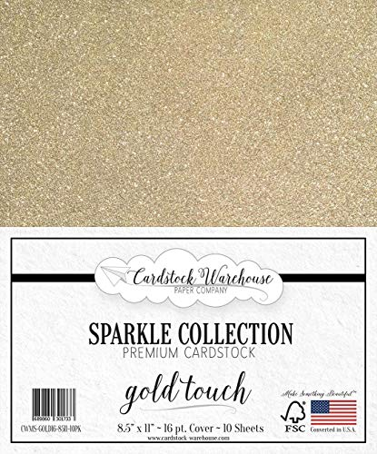 MirriSparkle Gold Touch Glitter Cardstock Paper from Cardstock Warehouse 8.5 x 11 inch- 16 PT/280gsm - 10 Sheets