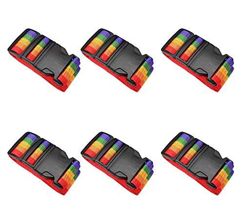 6 Piezas Correas para Equipaje,Ajustables de Equipaje de Viaje Cinturones con Cierre de Hebilla,para Bloquear de Forma Segura su Maleta Mientras viaja (Color arcoíris)