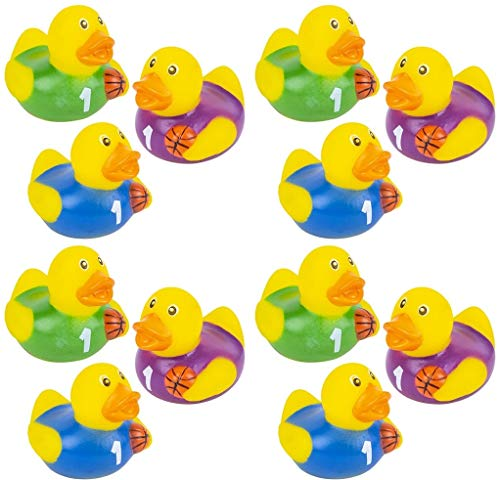 Happy Deals~ 12 Basketball Rubber Ducks - Basketball Party Favors | 2 inch