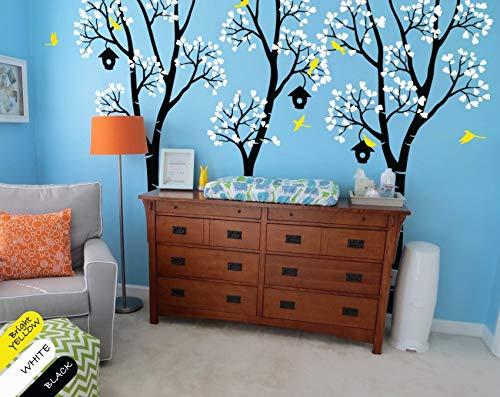 HNXDP enorme vivero árbol con Birdhouse Birch Tree etiqueta de la pared niños bebé dormitorio arte lindo decoración vinilo extraíble pared mural Y48 5PCS