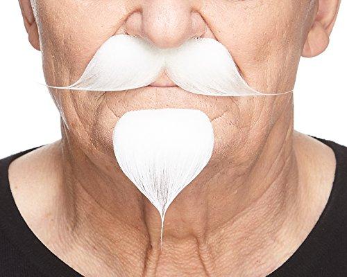 Mustaches Auto-Adhésives, Novelty Colonel Seters Fausse Hetlebar avec a Goatee, Blanche Couleur