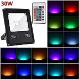 Viugreum 30W RGB LED Foco de Colores, Proyector IP66 Impermeable, Control Remoto Inalámbrico de 24 Teclas con 16 Colores y 4 Modos, Luz Interior y Exterior con Función de Memoria para Navidad Fiesta