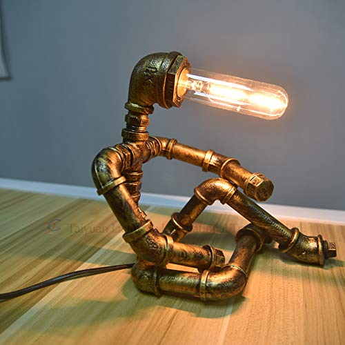 Loft Steampunk Metall Schreibtischlampen, Antiken Eisen Basis Wasser Rohr Tischlampe Schreibtisch Licht Tisch für Wohnzimmer Manager
