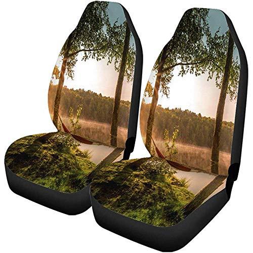Autostoelhoezen, zomer, camping, meer, lege hangmat tussen twee bomen, set van 2 auto-accessoires, beschermers voor auto, vrachtauto, SUV