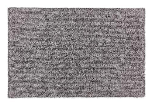 Schöner Wohnen Badteppich – beidseitig verwendbar – waschbar – 100% Baumwolle – einfarbig – hellgrau – 60 x 90 cm
