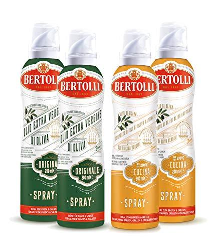 Bertolli Olivenöl Grill Spray Set Olio Di Oliva Cucina 2x200ml + Olio Di Oliva Extra Vergine Originale 2x200ml