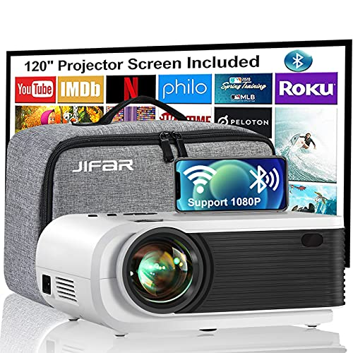 Mini Projector, JIFAR 6500L Movie Projector with WiFi Bluetooth Function, Support 1080p for FHD Home Theater, Compatible with iPhone, Android, TV Stick, Games Console, Comes with Projector Screen
