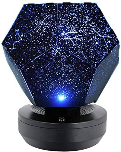 Stars-Original Home Planetarium, Stars Night Light Proiettore LED, Romantica Lampada Da Notte Stellata Rotante A 3 Colori Regolabile Con Cavo USB Per Camera Da Letto Per(Blue,Charging Batteries) …